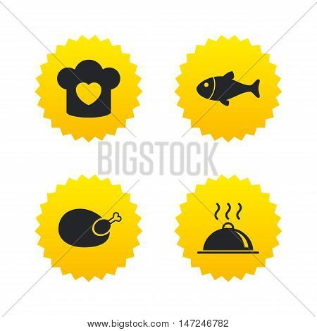 Chief hat with heart and cooking pan icons. Fish and chicken signs. Hot food platter serving symbol. Yellow stars labels with flat icons. Vector