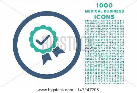 Approved rounded vector bicolor icon with 1000 medical business icons. Set style is flat pictograms, cobalt and cyan colors, white background.