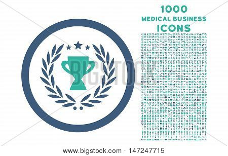 Glory rounded vector bicolor icon with 1000 medical business icons. Set style is flat pictograms, cobalt and cyan colors, white background.