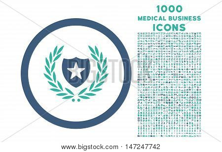 Glory Shield rounded vector bicolor icon with 1000 medical business icons. Set style is flat pictograms, cobalt and cyan colors, white background.