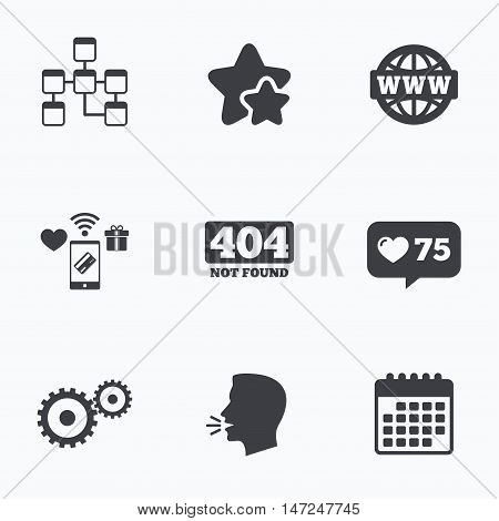 Website database icon. Internet globe and gear signs. 404 page not found symbol. Under construction. Flat talking head, calendar icons. Stars, like counter icons. Vector