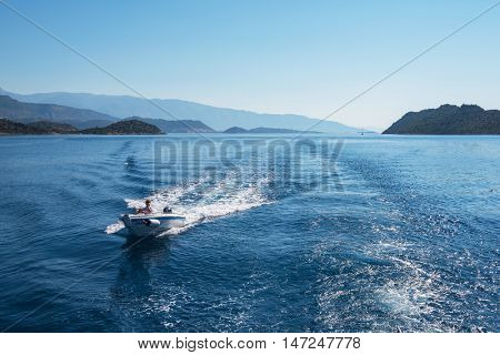 Mediterranean Sea, Turkey - July, 2015: near ruins of the ancient city on the Kekova island, Turkey