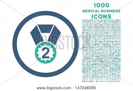 Second Place rounded vector bicolor icon with 1000 medical business icons. Set style is flat pictograms, cobalt and cyan colors, white background.