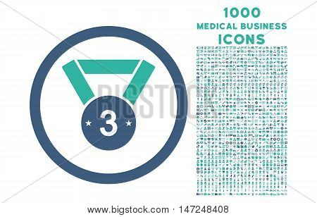 Third Medal rounded vector bicolor icon with 1000 medical business icons. Set style is flat pictograms, cobalt and cyan colors, white background.