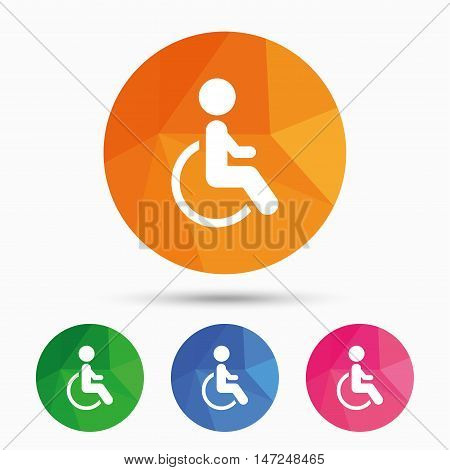 Disabled sign icon. Human on wheelchair symbol. Handicapped invalid sign. Triangular low poly button with flat icon. Vector