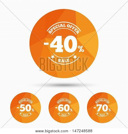 Sale discount icons. Special offer stamp price signs. 40, 50, 60 and 70 percent off reduction symbols. Triangular low poly buttons with shadow. Vector