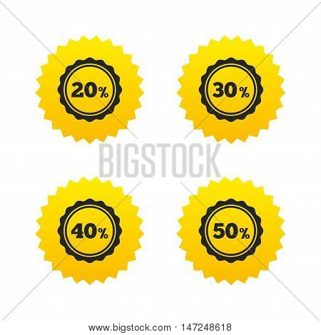 Sale discount icons. Special offer stamp price signs. 20, 30, 40 and 50 percent off reduction symbols. Yellow stars labels with flat icons. Vector