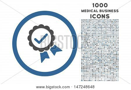 Approved rounded vector bicolor icon with 1000 medical business icons. Set style is flat pictograms, cobalt and gray colors, white background.