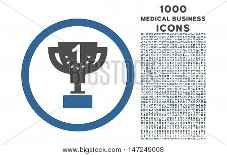 First Prize Cup rounded vector bicolor icon with 1000 medical business icons. Set style is flat pictograms, cobalt and gray colors, white background.