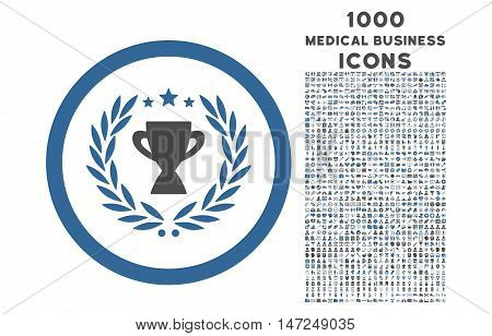 Glory rounded vector bicolor icon with 1000 medical business icons. Set style is flat pictograms, cobalt and gray colors, white background.