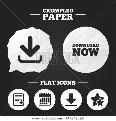 Crumpled paper speech bubble. Download now icon. Upload file document symbol. Receive data from a remote storage signs. Paper button. Vector