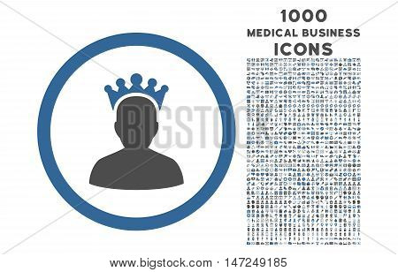 King rounded vector bicolor icon with 1000 medical business icons. Set style is flat pictograms, cobalt and gray colors, white background.