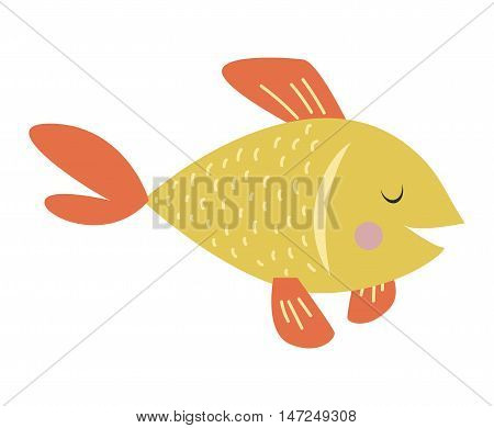 Gold fish nature marine fish bowl tropical underwater vector pet. Isolated on white goldfish underwater pet living in fish bowl. Aquatic clear water tail tank beautiful carp orange gold fish.
