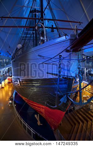 OSLO, NORWAY - AUGUST 27, 2016: The Polar Ship Fram at the Fram Museum in Oslo.