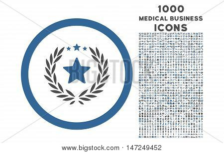 Proud Emblem rounded vector bicolor icon with 1000 medical business icons. Set style is flat pictograms, cobalt and gray colors, white background.
