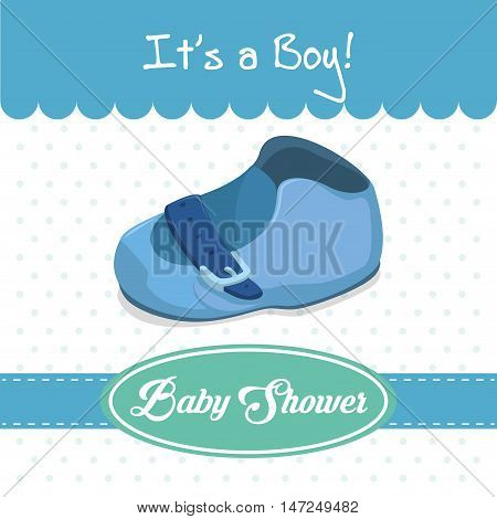 Baby shoe icon. Baby shower invitation card. Colorful design. Vector illustration