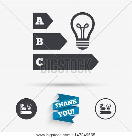 Energy efficiency sign icon. Idea lamp bulb symbol. Flat icons. Buttons with icons. Thank you ribbon. Vector