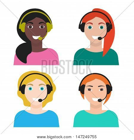 Set of woman telemarketer call center operator hot line vector illustration isolated on white background flat style