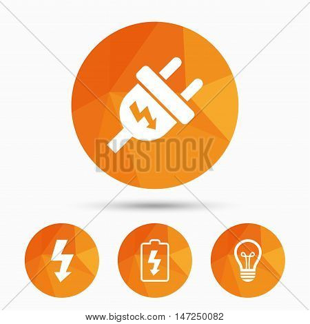 Electric plug icon. Lamp bulb and battery symbols. Low electricity and idea signs. Triangular low poly buttons with shadow. Vector