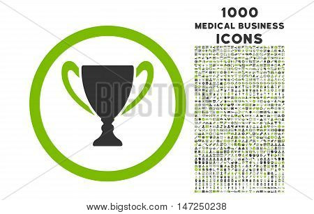 Award Cup rounded vector bicolor icon with 1000 medical business icons. Set style is flat pictograms, eco green and gray colors, white background.