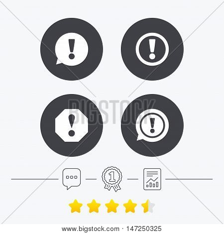 Attention icons. Exclamation speech bubble symbols. Caution signs. Chat, award medal and report linear icons. Star vote ranking. Vector