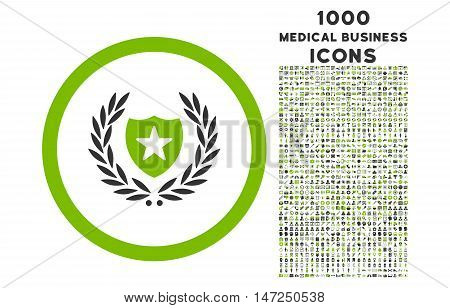 Glory Shield rounded vector bicolor icon with 1000 medical business icons. Set style is flat pictograms, eco green and gray colors, white background.