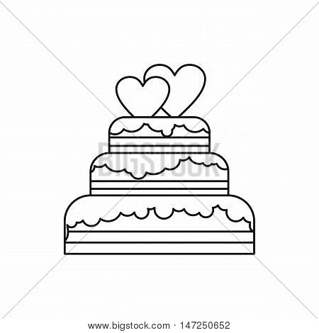 wedding cake icon in outline style isolated on white background vector illustration