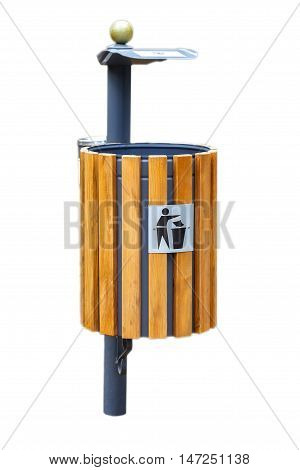 wooden new trash can on white background