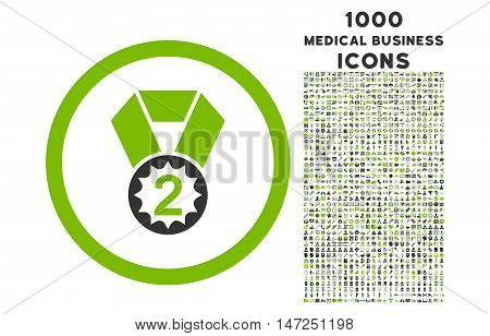 Second Place rounded vector bicolor icon with 1000 medical business icons. Set style is flat pictograms, eco green and gray colors, white background.