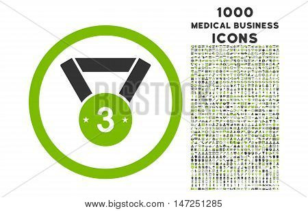 Third Medal rounded vector bicolor icon with 1000 medical business icons. Set style is flat pictograms, eco green and gray colors, white background.