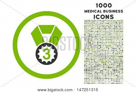 Third Place rounded vector bicolor icon with 1000 medical business icons. Set style is flat pictograms, eco green and gray colors, white background.