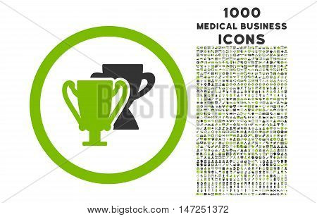 Trophy Cups rounded vector bicolor icon with 1000 medical business icons. Set style is flat pictograms, eco green and gray colors, white background.