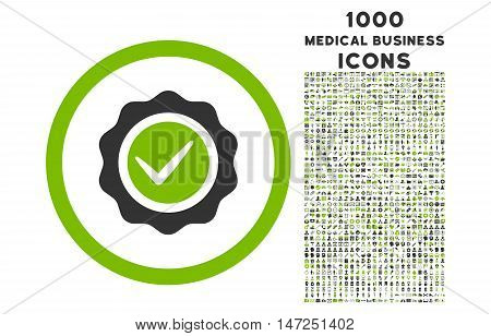 Valid rounded vector bicolor icon with 1000 medical business icons. Set style is flat pictograms, eco green and gray colors, white background.