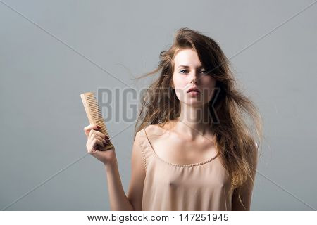 Sexy Young Pretty Woman With Hairbrush