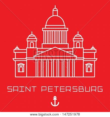 Saint Isaac Cathedral in Saint Petersburg Russia. Modern linear minimalist icon. Line sightseeing concept isolated on white background