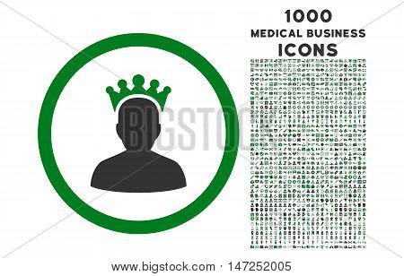 King rounded vector bicolor icon with 1000 medical business icons. Set style is flat pictograms, green and gray colors, white background.