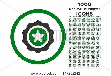 Reward Seal rounded vector bicolor icon with 1000 medical business icons. Set style is flat pictograms, green and gray colors, white background.