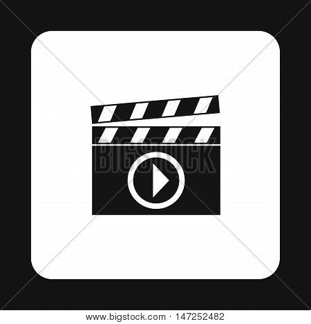 Clapperboard with play button icon in simple style on a white background vector illustration