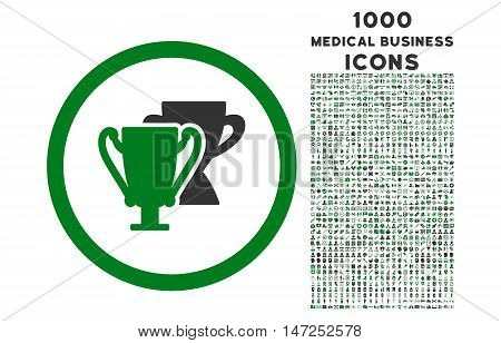Trophy Cups rounded vector bicolor icon with 1000 medical business icons. Set style is flat pictograms, green and gray colors, white background.