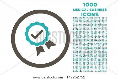 Approved rounded vector bicolor icon with 1000 medical business icons. Set style is flat pictograms, grey and cyan colors, white background.