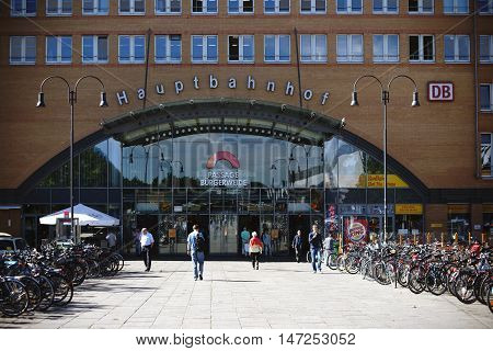 BREMEN, GERMANY - AUGUST 30: Bicycles standing in front of the passage Bürgerweide at the Bremen central station on August 30, 2016 in Bremen.