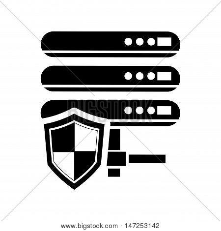 flat design web hosting and shield  icon vector illustration