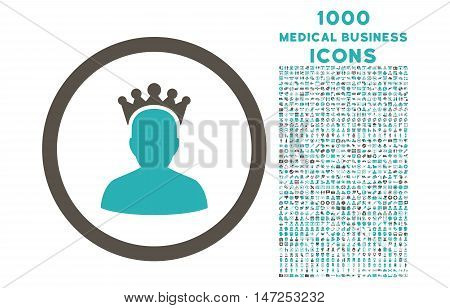 King rounded vector bicolor icon with 1000 medical business icons. Set style is flat pictograms, grey and cyan colors, white background.