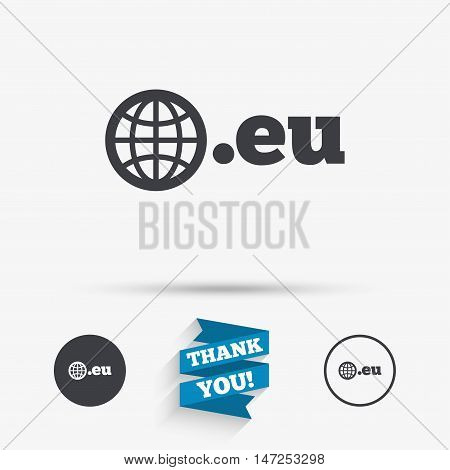 Domain EU sign icon. Top-level internet domain symbol with globe. Flat icons. Buttons with icons. Thank you ribbon. Vector