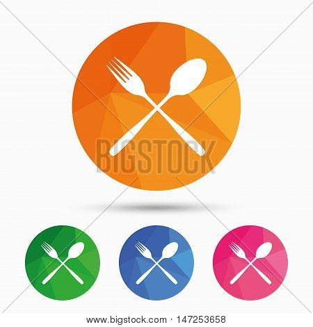 Eat sign icon. Cutlery symbol. Fork and spoon crosswise. Triangular low poly button with flat icon. Vector