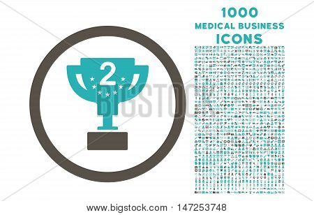 Second Prize rounded vector bicolor icon with 1000 medical business icons. Set style is flat pictograms, grey and cyan colors, white background.