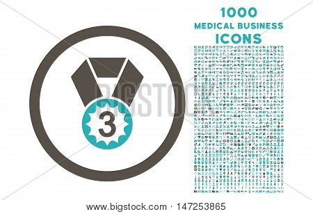 Third Place rounded vector bicolor icon with 1000 medical business icons. Set style is flat pictograms, grey and cyan colors, white background.