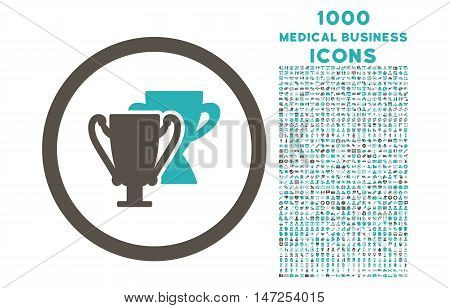 Trophy Cups rounded vector bicolor icon with 1000 medical business icons. Set style is flat pictograms, grey and cyan colors, white background.