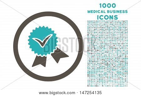 Validation Seal rounded vector bicolor icon with 1000 medical business icons. Set style is flat pictograms, grey and cyan colors, white background.