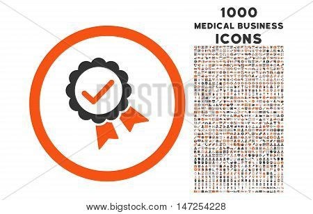 Approved rounded vector bicolor icon with 1000 medical business icons. Set style is flat pictograms, orange and gray colors, white background.